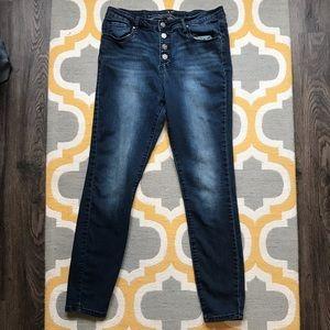 Versace V1969 Button Fly High Waist Skinny Jeans